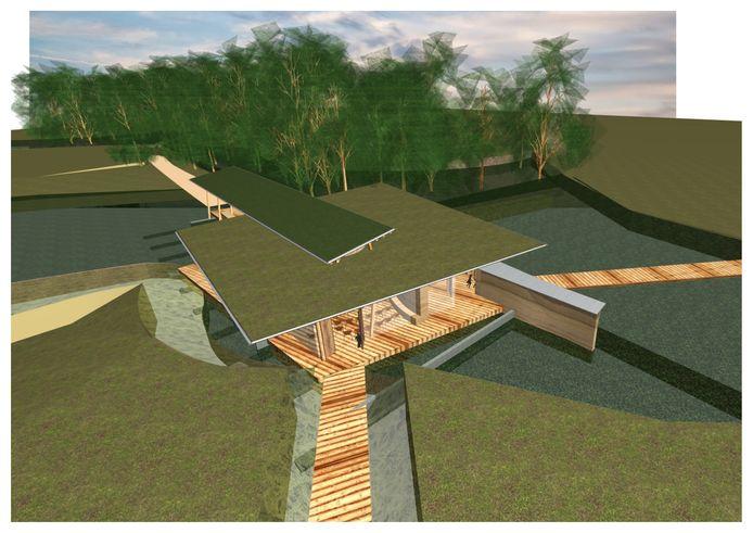 Artist Impression van de nieuwe paviljoen, die op de natuurbegraafplaats de Slangenburg bij Doetinchem moet komen.
