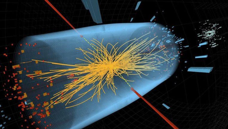 Een grafische voorstelling van de botsing van deeltjes.