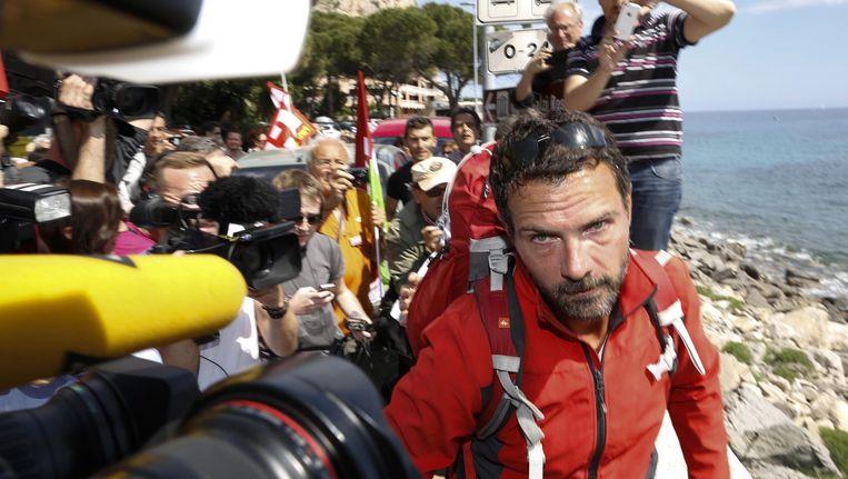 Kerviel kwam vandaag aan in Ventimiglia, bij de Frans-Italiaanse grens. Beeld EPA
