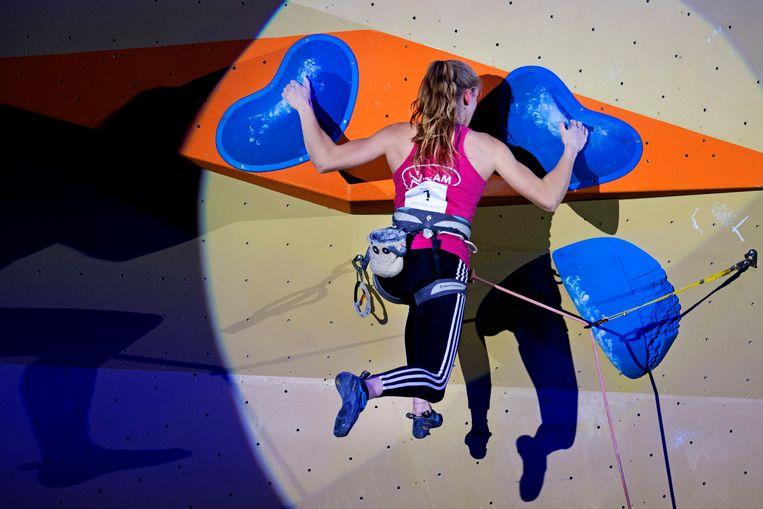 Sportklimmen (op de foto het onderdeel lead) is vanaf deze zomer olympisch.  Beeld Olaf Kraak
