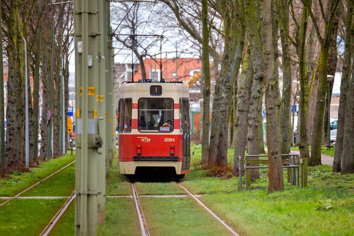 Tram 1 op de Scheveningseweg, tussen bomen