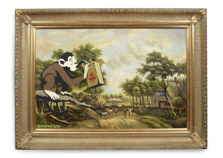 Monkey Poison Kunstwerk van Banksy dat Moco verkocht om hoofd boven water te houden. Beeld Banksy