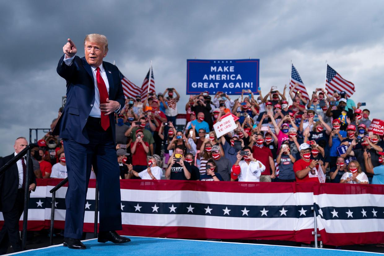 Trump tijdens een campagnerally voor de verkiezingen.  Beeld AP