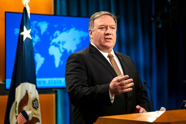 De Amerikaanse minister van Buitenlandse Zaken Mike Pompeo. Beeld EPA
