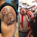 De tatoeage van Jan-Willem Zwang samen met zijn broer Fred (rechts) in mooie tijden bij Feyenoord. PRIVÉFOTO
