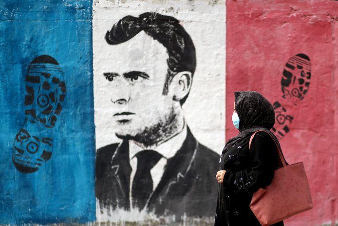 Le portrait d'Emmanuel Macron sur un mur de Gaza (Territoires palestiniens)