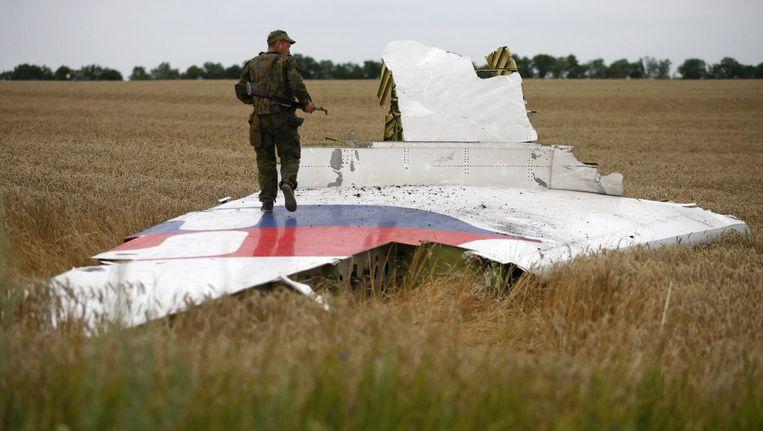 Een brokstuk van vlucht MH17 Beeld reuters