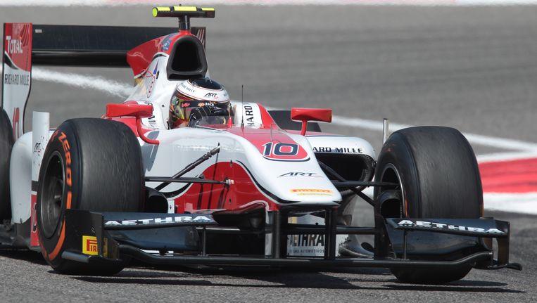 Stoffel Vandoorne in actie tijdens de Grote Prijs van Bahrein in de GP Series. Beeld BELGA