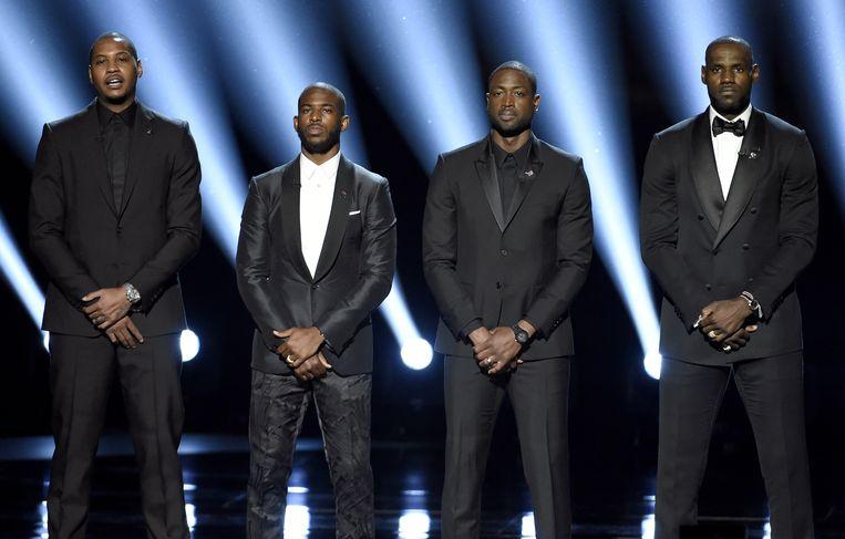 NBA-spelers Carmelo Anthony, Chris Paul, Dwayne Wade en LeBron James hielden een opgemerkte speech op de ESPY Awards.