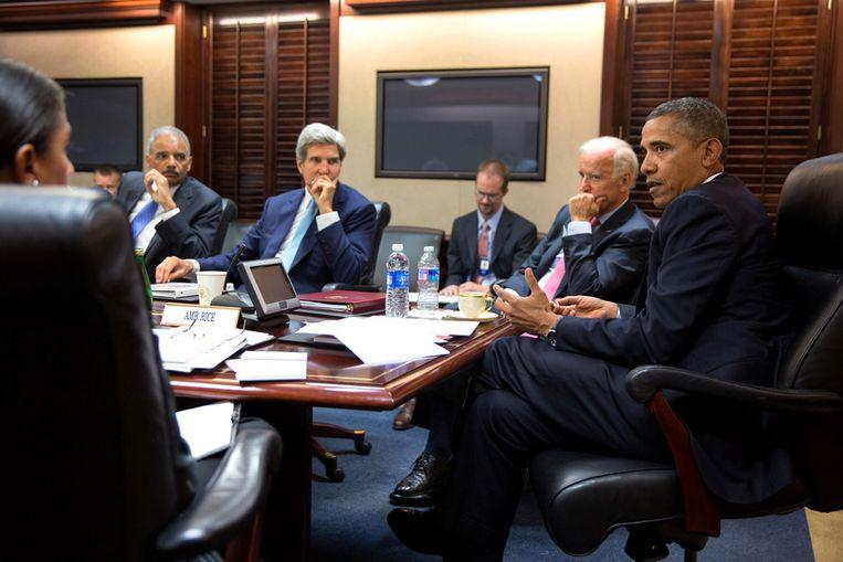 Obama tijdens een eerdere ontmoeting met zijn nationale veiligheidsteam. Beeld ap
