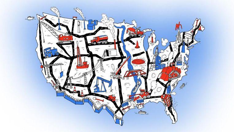 De economie van de VS in één overzicht. Beeld Johan Kleinjan