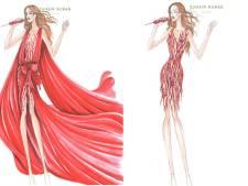 La robe de chiffons de luxe de Jennifer Lopez