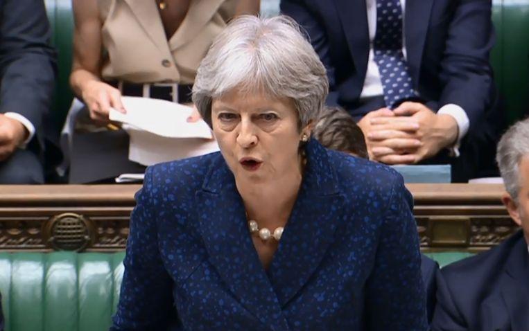 May deze namiddag in het parlement. Beeld AFP