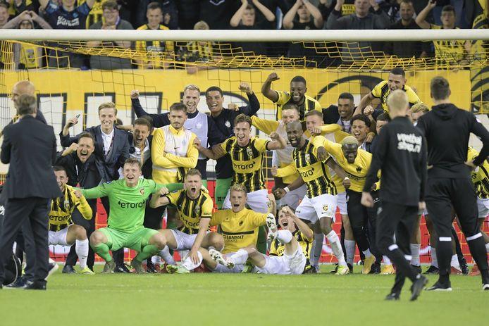 Vitesse viert de overwinning op Anderlecht en het bereiken van de UEFA Conference League op 26 augustus 2021 in Arnhem, Nederland.
