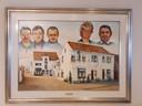 In de feestzaal hang een geschilderd familieportret.