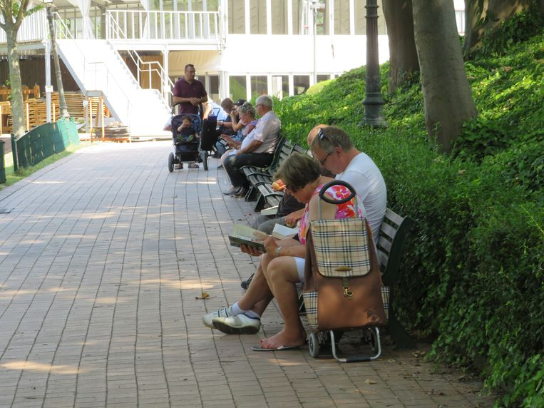 Iets verderop zoeken mensen de schaduw op van het Leopoldpark om een boekje te lezen.