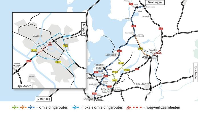 De plek waar Rijkswaterstaat werkt aan verbetering van bruggen op de A28