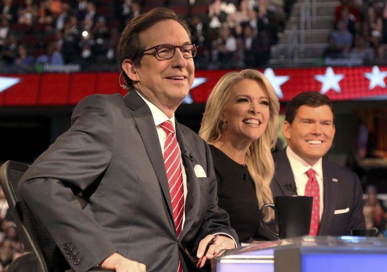 Megyn Kelly met haar twee Fox News-collega'stijdens het eerste Republikeinse debat eerder deze maand. Beeld reuters