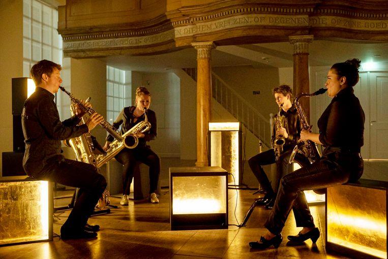 Het Berlage Saxofoon Kwartet. Beeld Ben van Duin