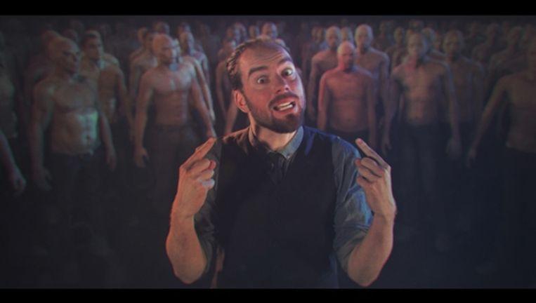 In de winnende video is frontman Torre Florim van De Staat te zien in een zee van geanimeerde, kale mannen die in trance raken van het nummer Witch Doctor. Beeld Studio Smack