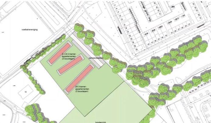 Tijdens de digitale informatiebijeenkomst werd deze plattegrond getoond van de mogelijke inrichting van het 'flexwijkje'. Linksboven het voetbalcomplex van SV Ruwaard, rechts de woonwijk zelf.