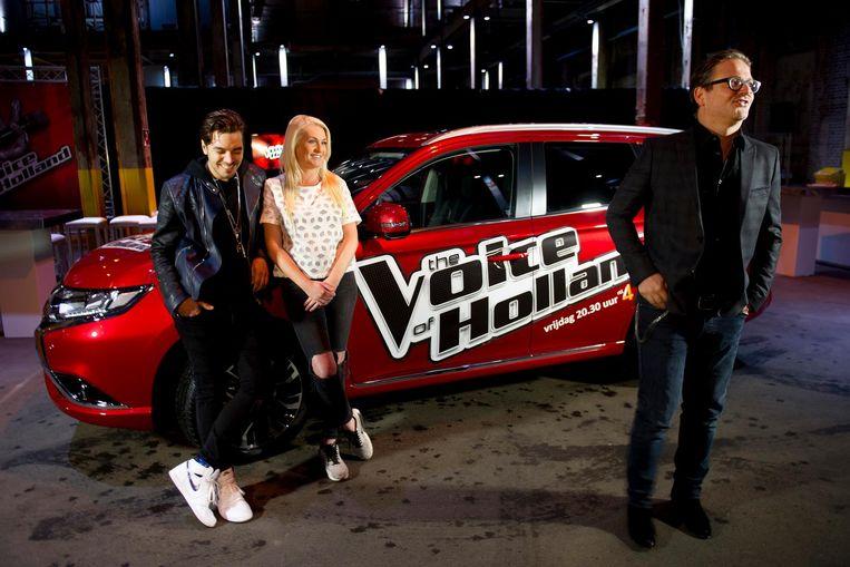 (Vlnr) Waylon, Sanne Hans (Miss Montreal) en Guus Meeuwis tijdens de persbijeenkomst van het zevende seizoen van The Voice of Holland. Beeld null