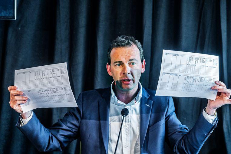 Minister Wouter Beke toont de invullijsten. Beeld Tim Dirven