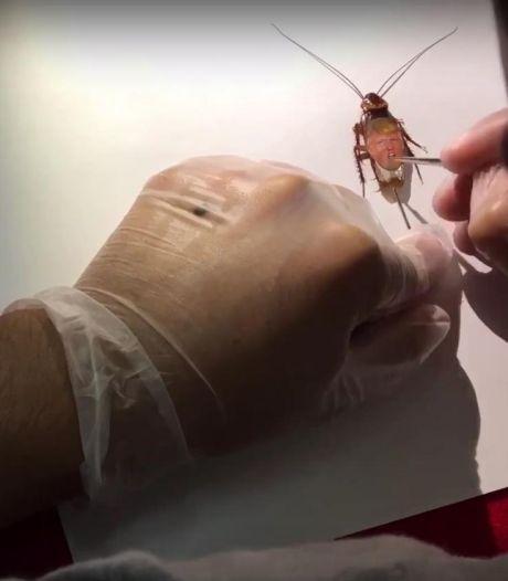 Mexicaanse kunstenaar schildert gezicht Trump op kakkerlak