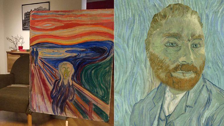 Links: De Schreeuw van Edvard Munch op ware grootte in de woonkamer. Rechts: een selfie van de auteur als Van Gogh. Beeld Google Arts & Culture