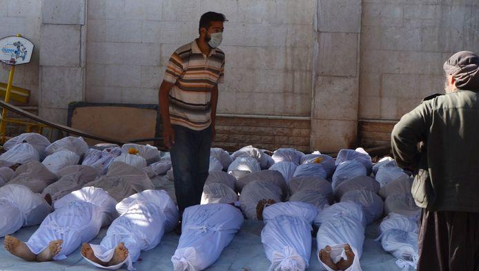 Slachtoffers van de mogelijke gifgasaanval op de regio al-Ghouta.