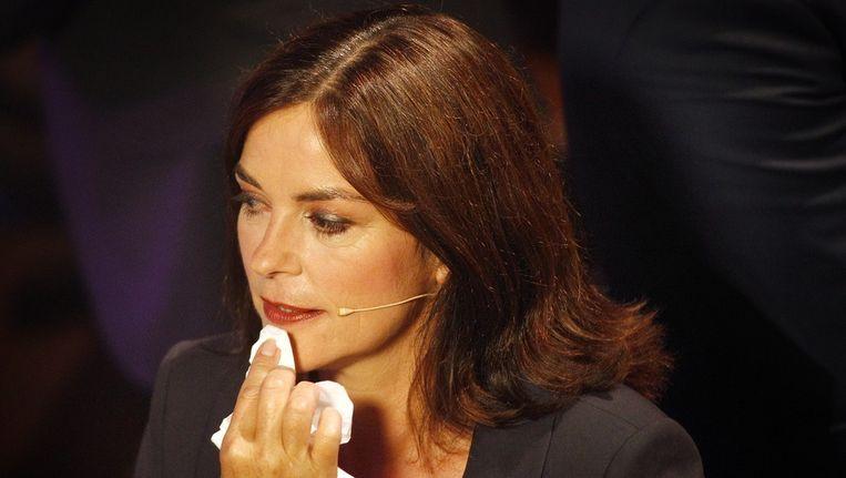 GroenLinks-lijsttrekker Jolande Sap voor aanvang van het eerste tv-verkiezingsdebat. De meeste christelijke waarden zijn terug te vinden bij haar partij. Beeld anp