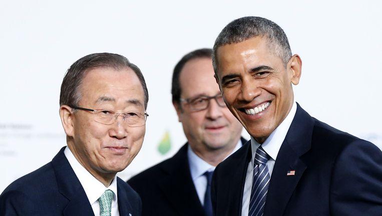 Ban Ki-moo (L), Hollande en Obama. Beeld ap