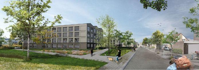 Het voorlopige beeld van de woongebouwen aan de Kronenbergstraat.