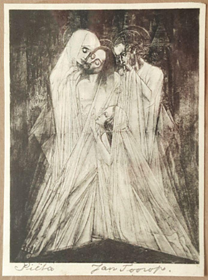 Piëta. Reproductie van een heiligenprent van de hand van kunstenaar Jan Toorop.