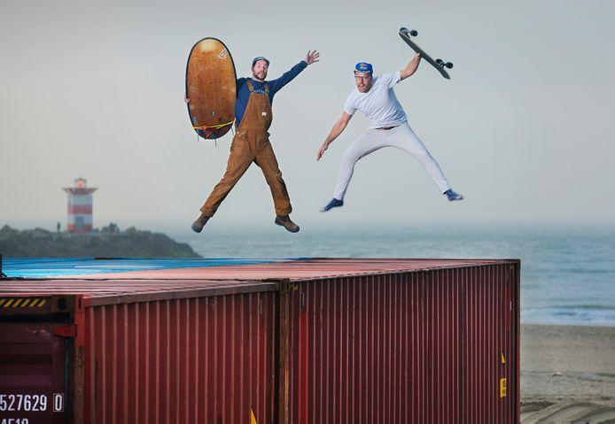 De twee initiatiefnemers van surfhotspot The Shore: Rechts Geert Verhoeff (voormalig Fast) en links Hans van den Broek.
