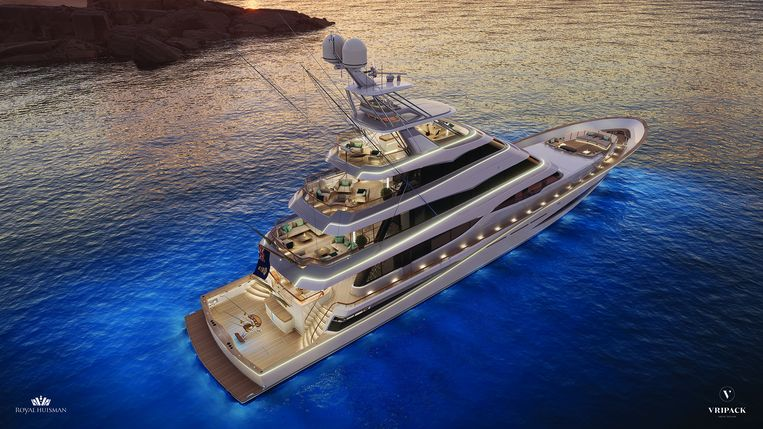 Het ontwerp van het superjacht. Beeld Vripack Yacht Design
