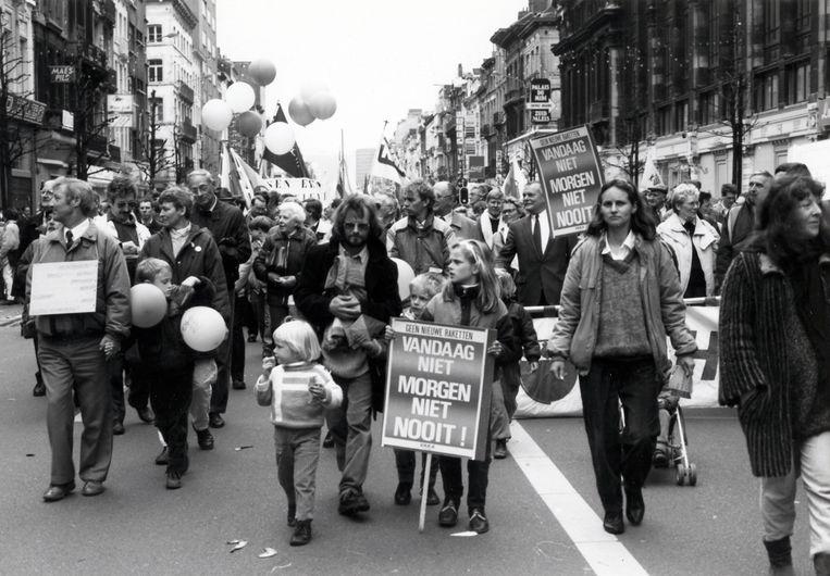 In 1983 kwamen 400.000 mensen op straat bij een antirakettenbetoging in Brussel  Beeld Studio Alijn
