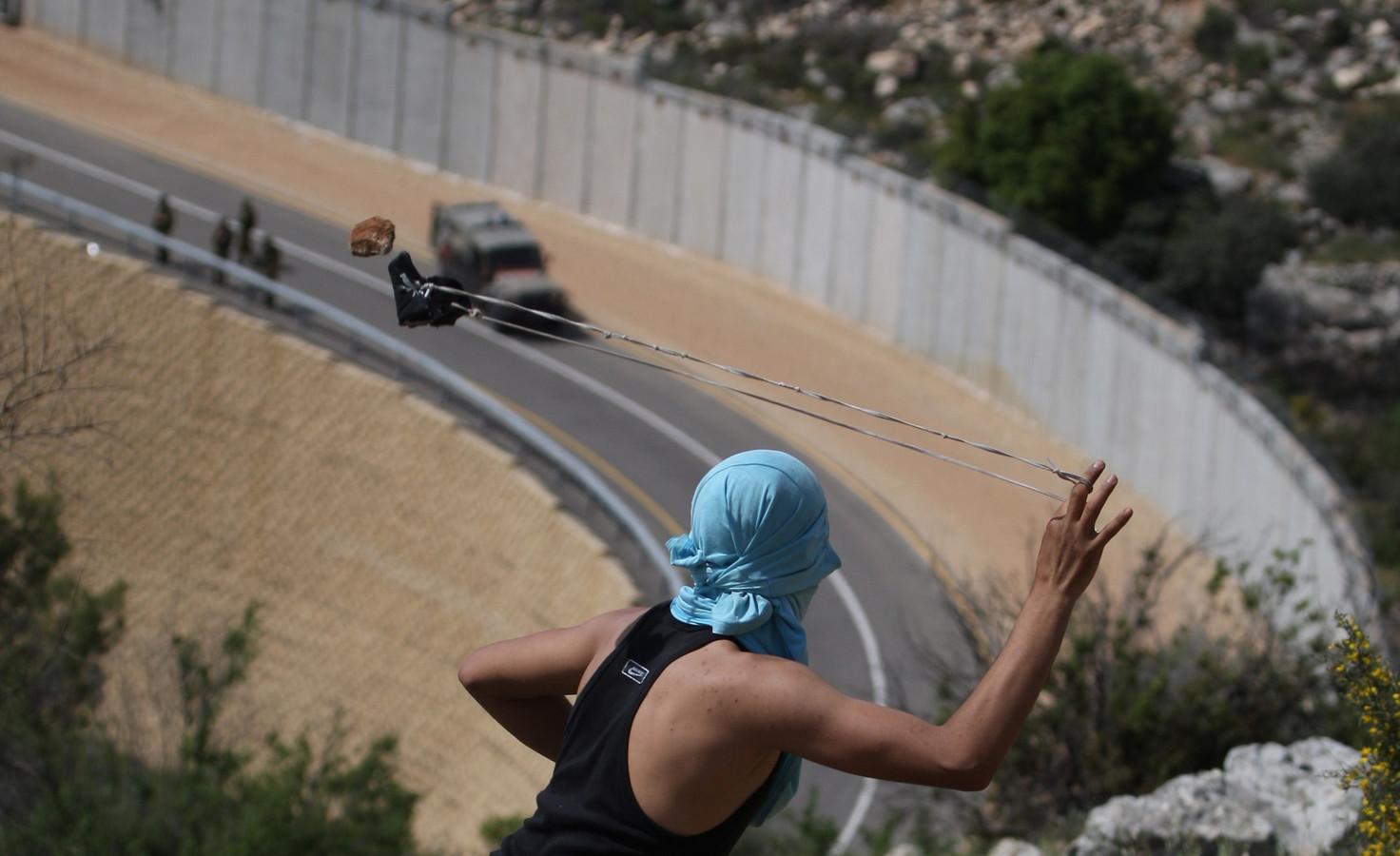 De Israëlische afscheidingsmuur bij Ramallah.