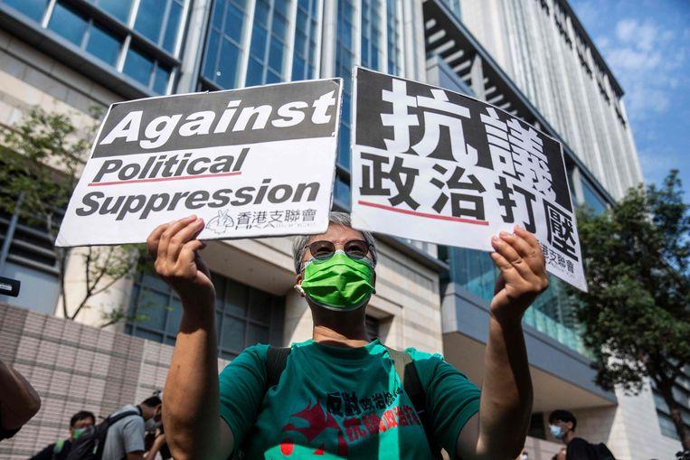 Een pro-democratische demonstrant in Hongkong. Beeld AFP