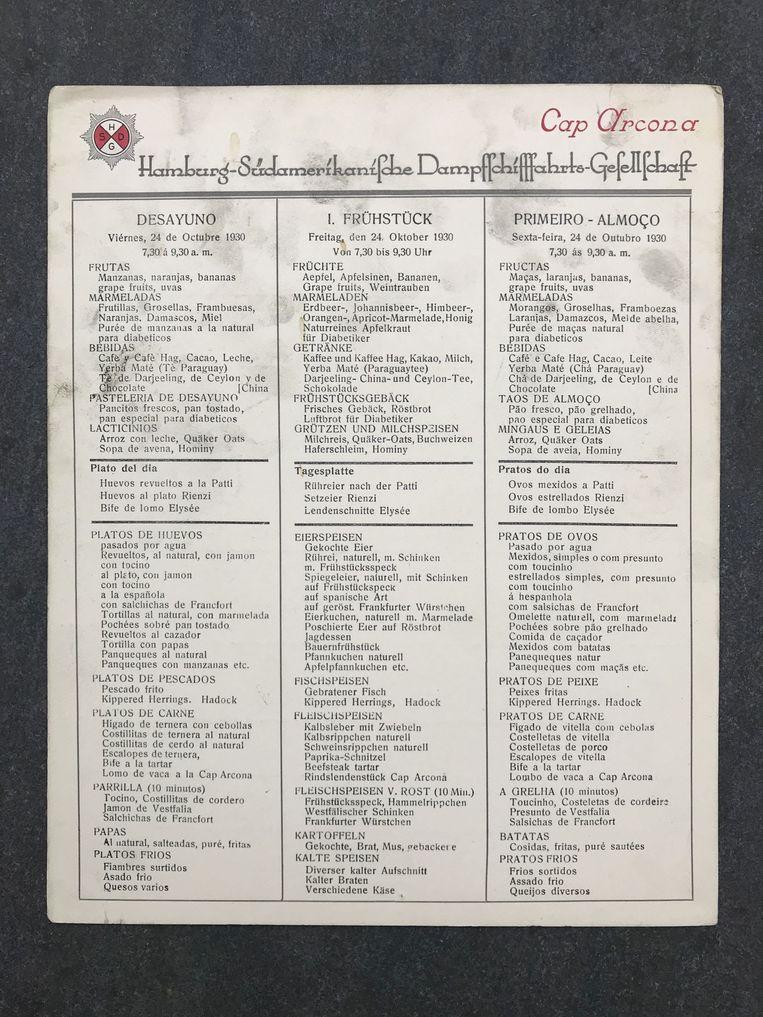 Met de vondst van een bijna 90 jaar oude menukaart van de Cap Arcona heeft schrijver Frank Krake een stukje geschiedenis ontdekt van het rampschip, dat tijdens de Tweede Wereldoorlog werd gebombardeerd door de geallieerden. Beeld -