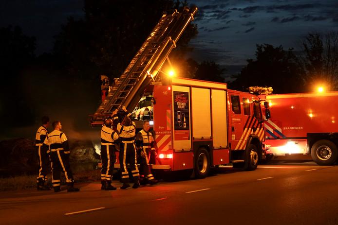 Brand hooibalen Breda.