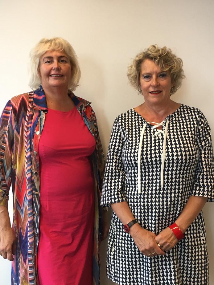 Jacqueline Joppe (links) en Wilma de Jong. 'Werken in de zorg is leuk en zinnig'.