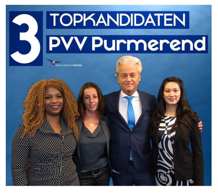 Wilders met de 'topkandidaten van PVV Purmerend' op Twitter. Beeld