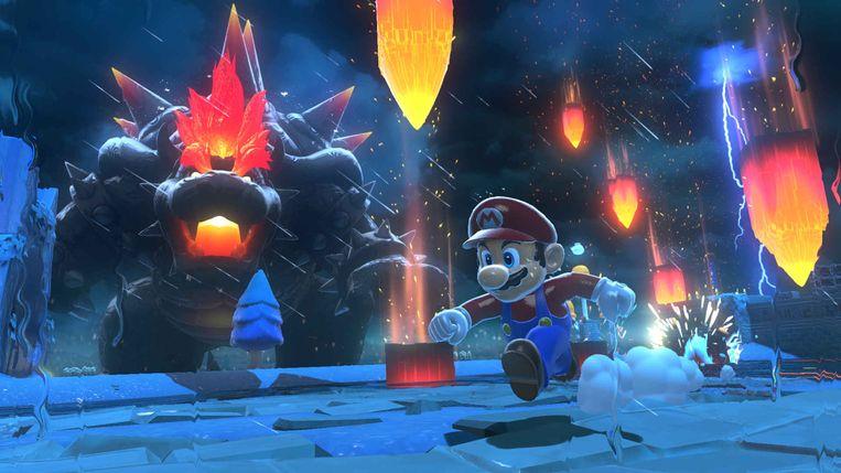 Het hergebruikte Super Mario 3D World voelt dankzij het extra nieuwe hoofdstuk Bowser's Fury vers aan. Beeld Nintendo