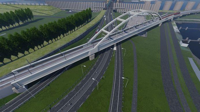 Impressie van de nieuwe brug zoals die boven de A15 en de Thomassentunnel komt te liggen.