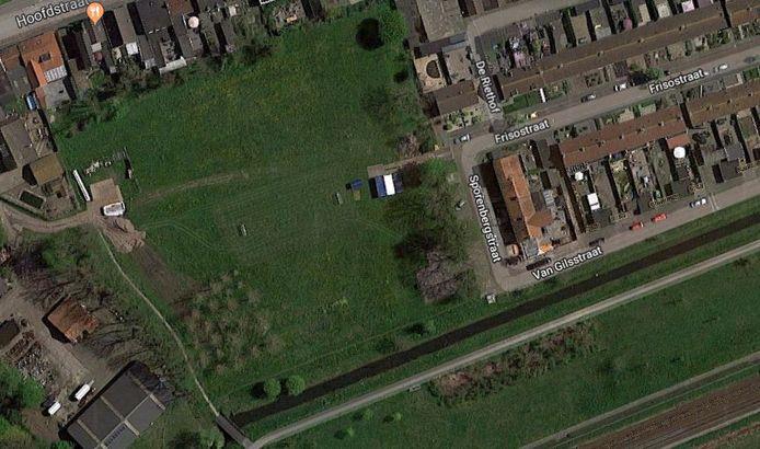 Het terrein aan de Sporenbergstraat, vanuit de lucht gezien.