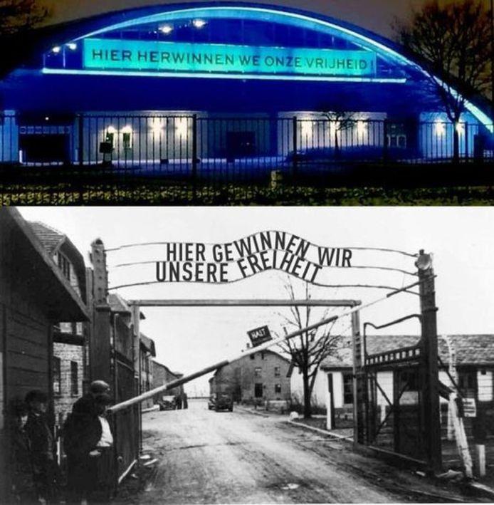 Deze montage met een vervalste foto van Auschwitz doet momenteel de ronde op sociale media.