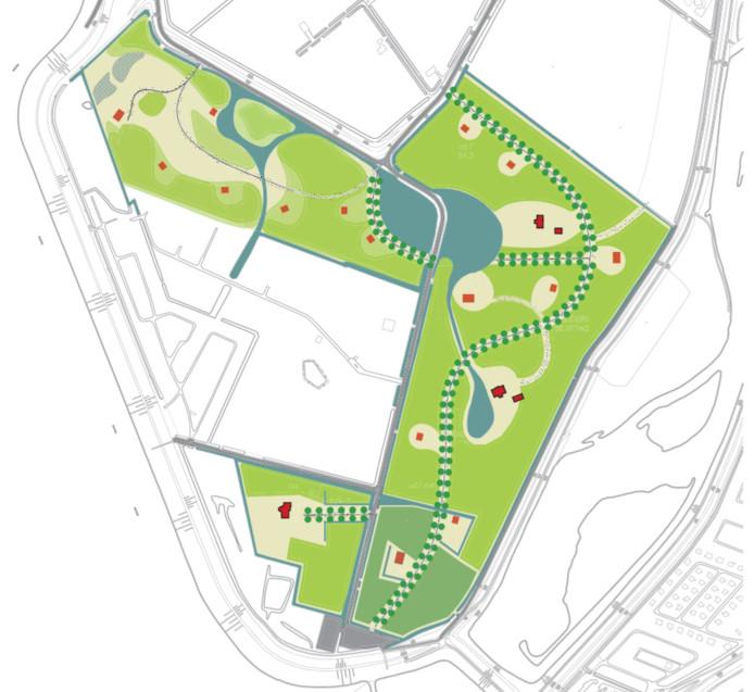Een schets van de nieuwe situatie op landgoed De Pluimpot. De bestaande landhuizen zijn rood, de vijftien nieuwe woningen zijn oranje gekleurd.