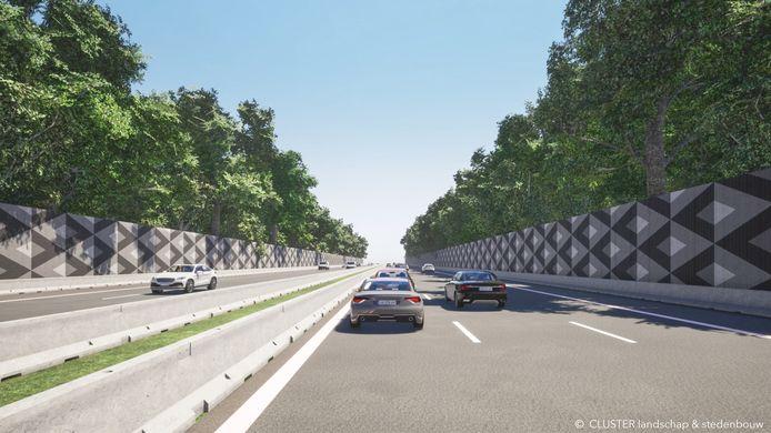 Zo moeten de geluidsmuren langs de E40 in Aalter er tegen het voorjaar 2022 uitzien.