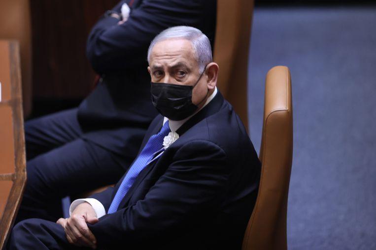 Benjamin Netanyahu bij de beëdiging van het Israëlische parlement. Beeld EPA